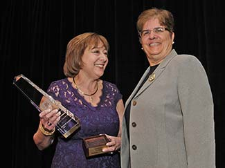 Joan Neumann, Rockland Business Assocation, presents the Woman In Business award to Sr. Margaret Mary Fitzpatrick, S.C., St. Thomas Aquinas College