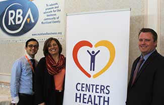 Nate Samuels, Nancy Milyko, and Steve Carr, Centers Health Care and March luncheon sponsor
